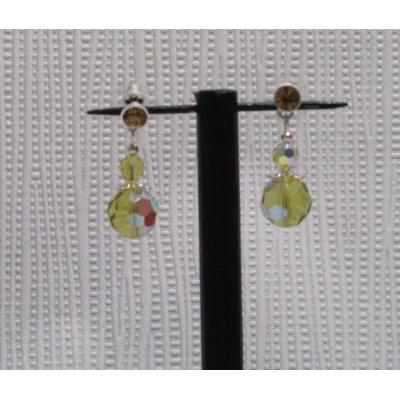 boucles d 'oreille puce style baroque  ocre translucide