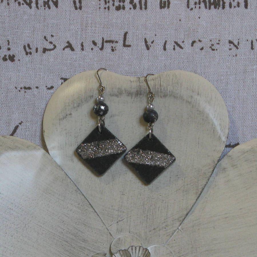Boucles d'oreilles pour Femme en Ardoise Emaillée Argenté Pailleté, Création Unique