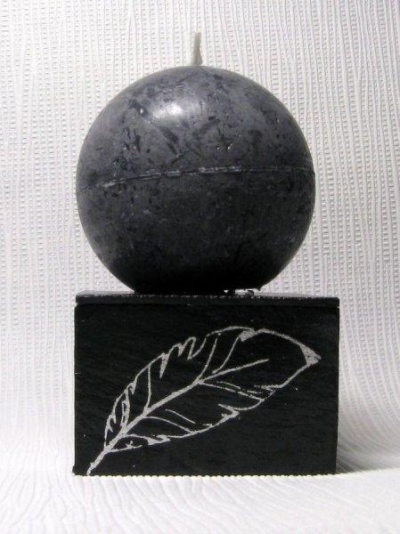 Bougeoir ardoise et bois argent et noir