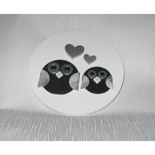 boîte en bois peint blanc et noir déco chouette en ardoise/ coffret à bijoux