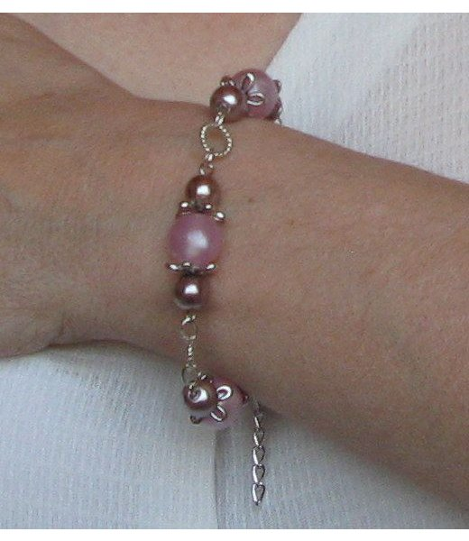 bracelet gourmette shabby chic rose poudré et marron glacé