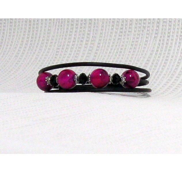 bracelet manchette fuchsia et noir