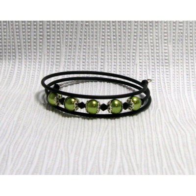 bracelet manchette nacré vert anis et noir