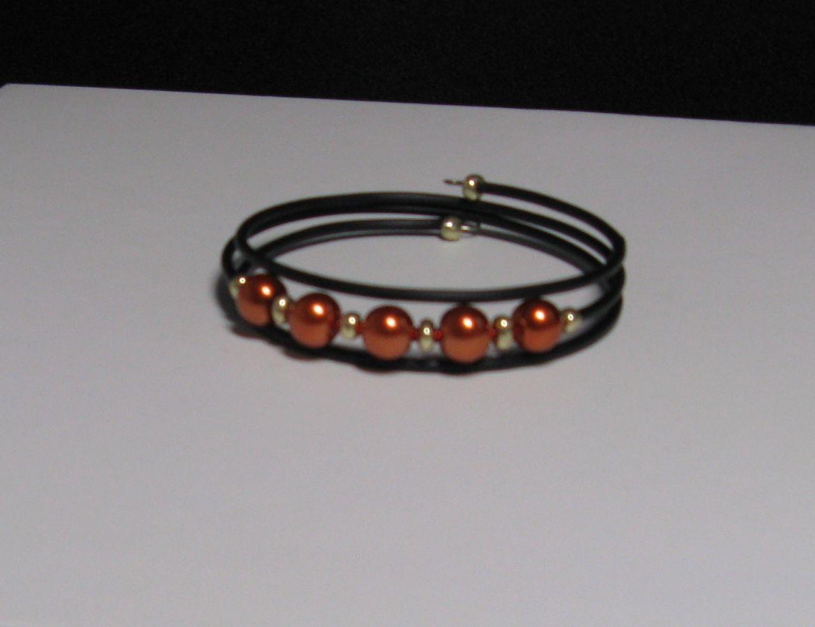 bracelet manchette trois rangs perle nacrée cuivrée et dorée