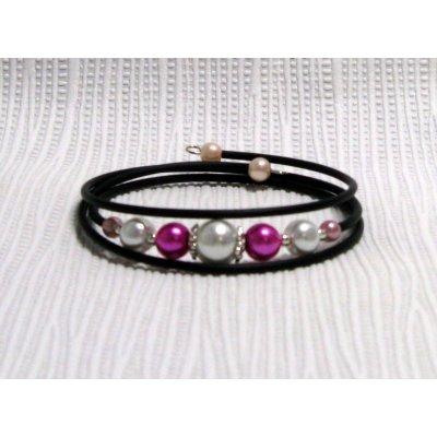 bracelet trois rangs perles nacrées fuchsia et blanc