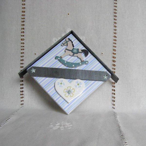 Cadre Personnalisable pour Chambre Enfant, Bébé, Cheval a bascule bleu, Création Unique