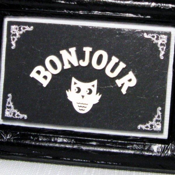 Tableau Chouette qui dit Bonjour de Style Baroque en Ardoise, Création Unique