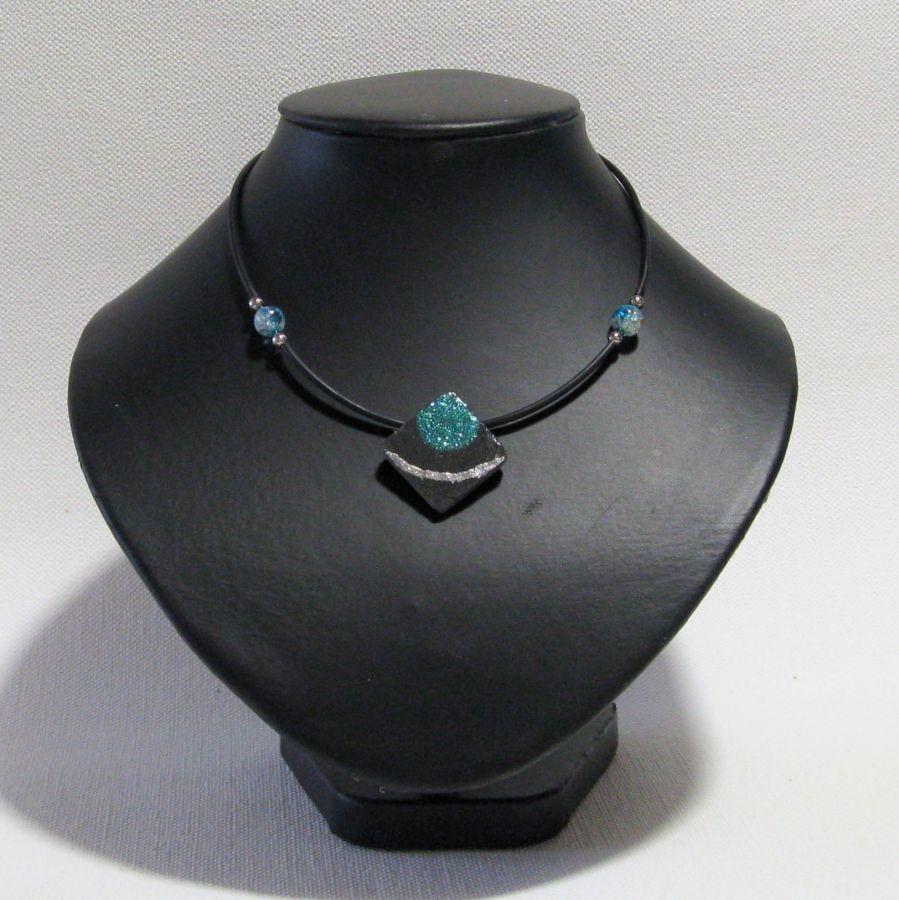 Collier Femme en Ardoise Emaillée Bleu Pailleté, Création Artisanale Unique