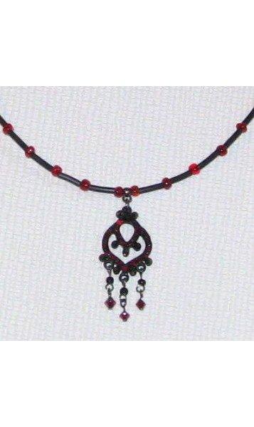 collier style baroque rouge et noir, création fait main