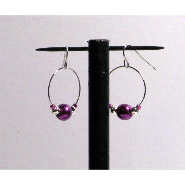 boucles d'oreille créole violette et argentée