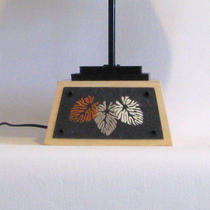 Grande Lampe a Poser en Ardoise Emaillée et Bois, Création Unique