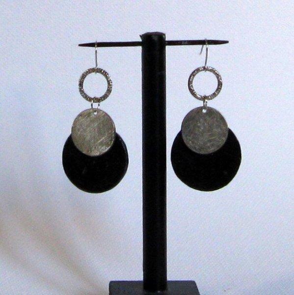 Grosses boucles d'oreille pour Femme en Ardoise et argent, création Unique