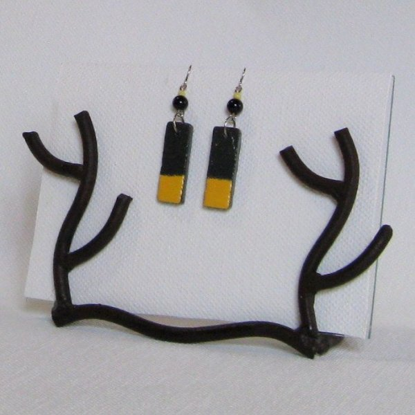 Boucles d'oreille Longues pour Femme et Ado en Ardoise Emaillée Jaune, création artisanale