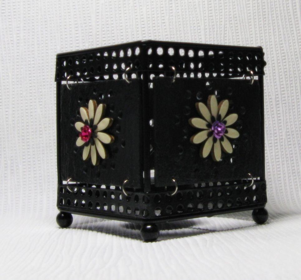 Photophore en ardoise et métal, motifs floraux, création artisanale