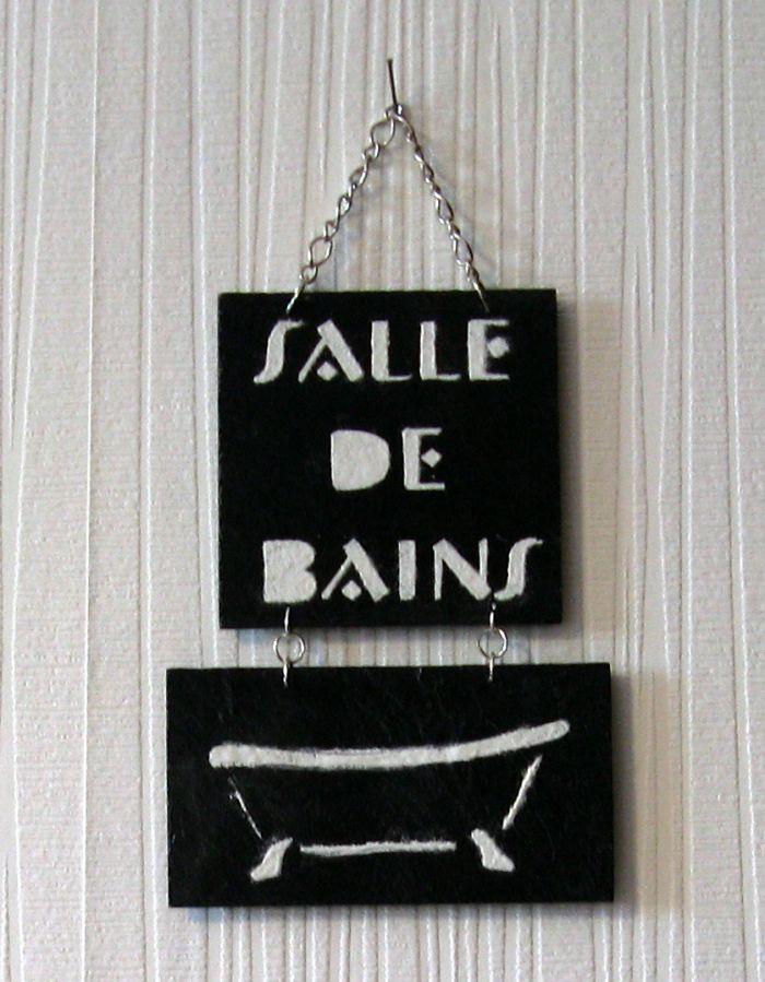 Plaque de Porte Salle de Bain en Ardoise Emaillée Blanc, Création Originale