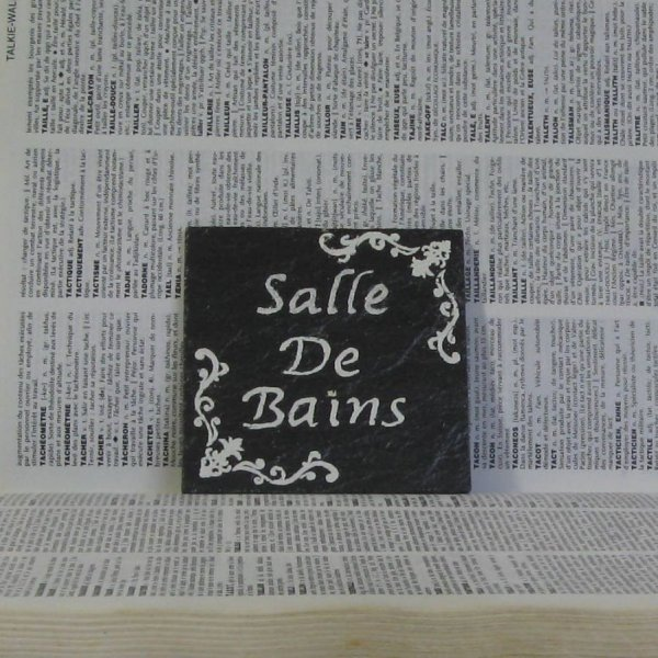 Plaque de Porte Salle de Bains en Ardoise Emaillée Style Bohème Chic
