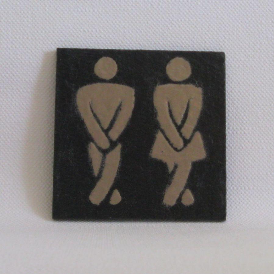 plaque de porte pour toilette en ardoise émaillée beige