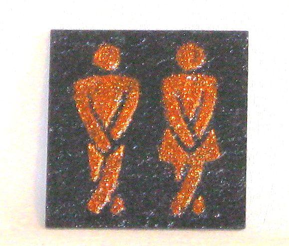 """Plaque de Porte """"Toilettes"""" en Ardoise Emaillée Bronze, a Poser sans Trou, Création Artisanale"""