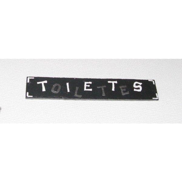 plaque de  porte pour toilettes en ardoise émaillée argent et blanc, fait main