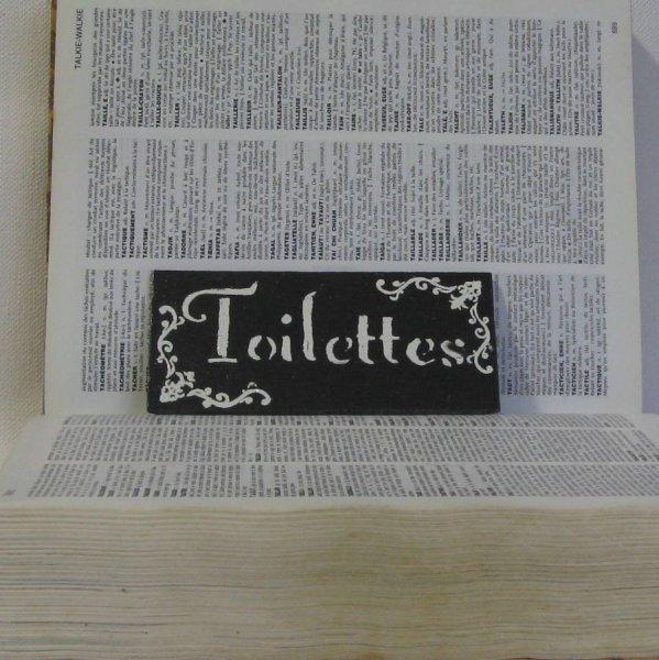 Plaque de Porte Toilettes en Ardoise Emaillée blanc, Création Unique