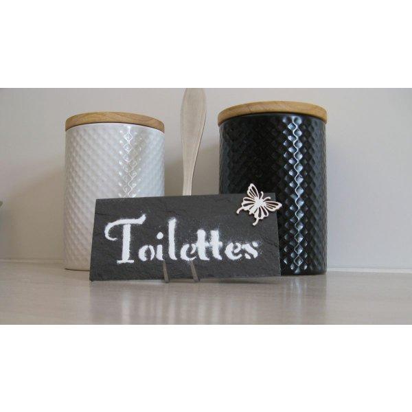 plaque de porte toilettes wc en ardoise et lettres émaillées