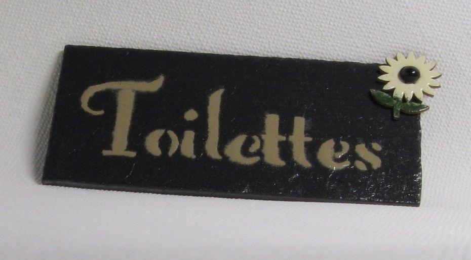 plaque de porte TOILETTES en ardoise émaillée, création artisanale