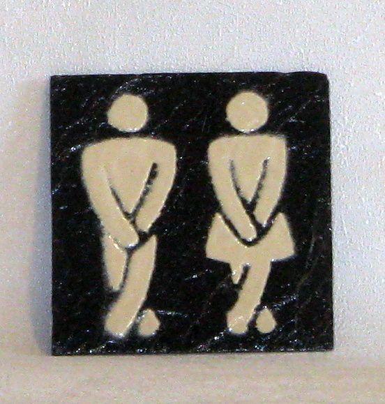 """Plaque de Porte """"TOILETTES"""" en Ardoise Emaillée Ivoire, a  Poser sans Trou, Création Originale"""