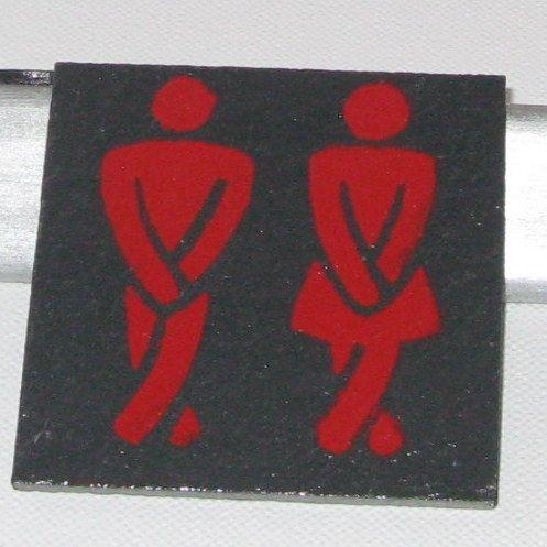 plaque de porte wc en ardoise émaillée rouge sans trou dans la porte