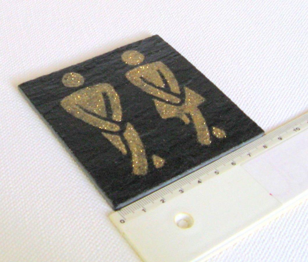 Plaque de Porte pour les Toilettes réalisée en Ardoise Emaillée Doré, Création Réalisée dans mon atelier