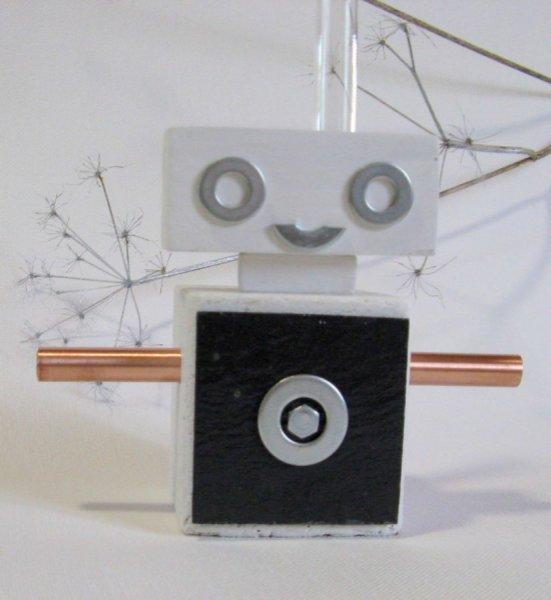 soliflore robot en bois et ardoise, création artisanale