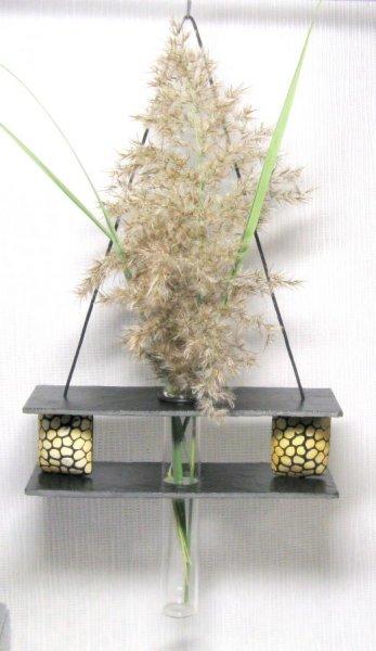 Vase Soliflore Suspendu en Ardoise et Perles Style Africain, Création Unique