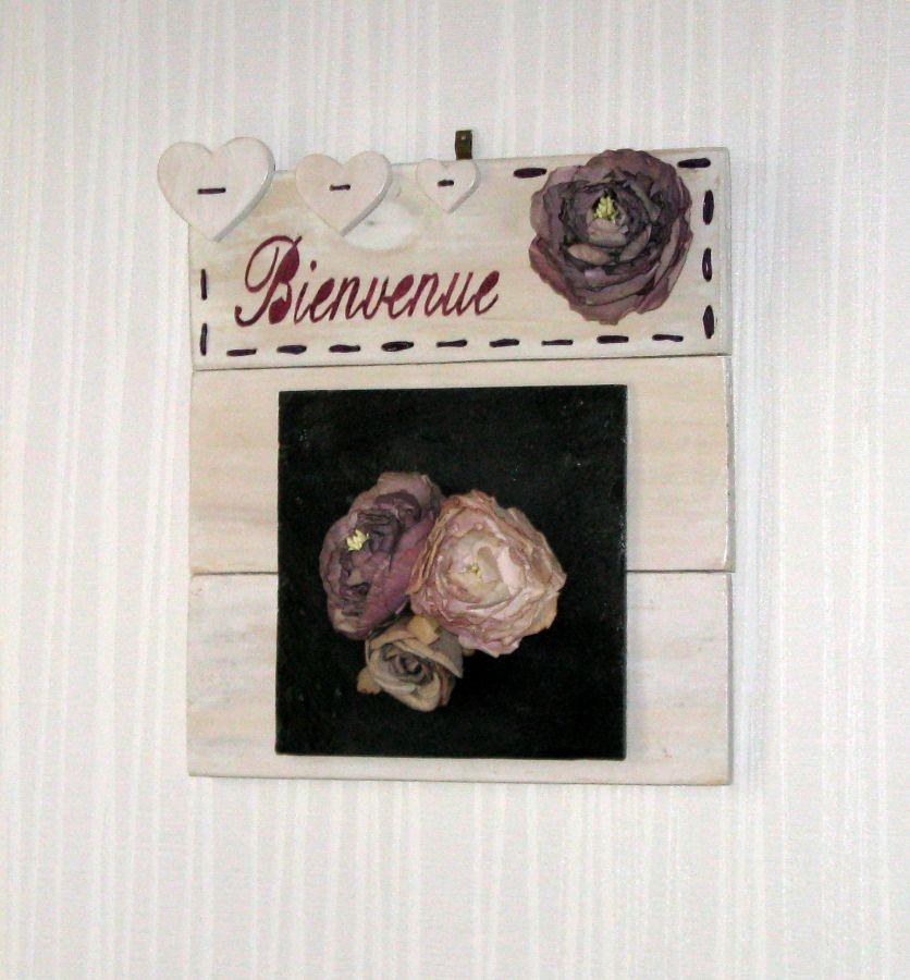"""Tableau floral """"bienvenue"""" shabby chic, fait main"""