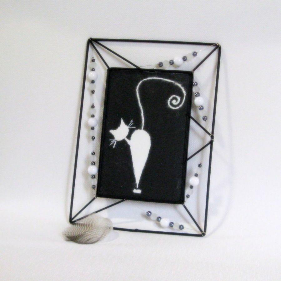 tableau chat émaillé sur ardoise, création fait main