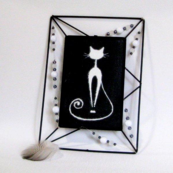 Tableau Chat Emaillé sur une Ardoise et Inséré dans Cadre de Métal Noir, Création Unique