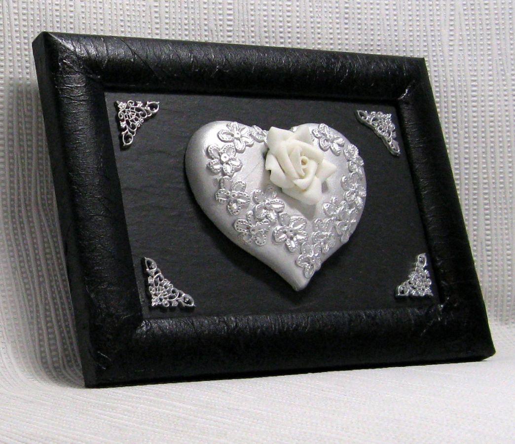 tableau coeur argenté style baroque sur ardoise