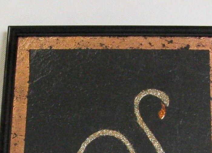 Tableau Flamand Rose Emaillé sur une Ardoise, Création Unique