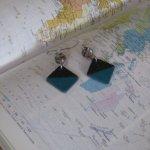 Boucles d'Oreille en Ardoise Emaillée Bleu, Montage Acier Inoxydable, Création Unique