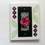 tableau floral /rose et ardoise