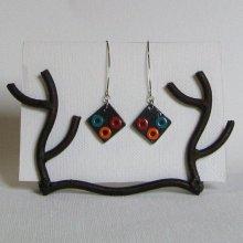 Grande Boucles d'oreille pour femme en Ardoise Multicolores pour Oreilles Percées, Création Artisanale