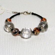 bracelet grosses perles transparentes pour poignet 16-18 cm
