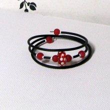 bracelet manchette rouge et blanc