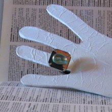 bague réglable en ardoise et feuille de métal bronze et cabochon turquoise