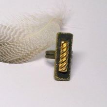 bague réglable noire et dorée, création artisanale