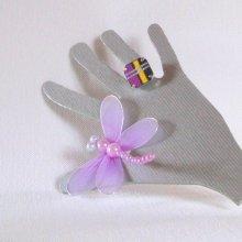 Bague Réglable pour Femme en Ardoise Emaillée de couleurs Violette, Jaune et Argent, Création de Créateur