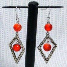 boucles d'oreille pendant losange argent et perle orange