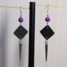 boucles d'oreille longues violette et argent oreilles percées