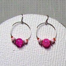 bocles d'oreille créole rose fuchsia et orange