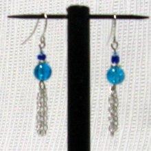 boucles d'oreille percées bleue et turquoise