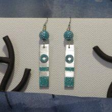 longue boucles d'oreille bleu turquoise pailleté