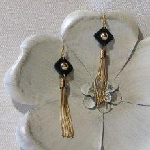 Longues Boucles d'oreille pour Femme en Ardoise et Pompon Doré, Création Unique